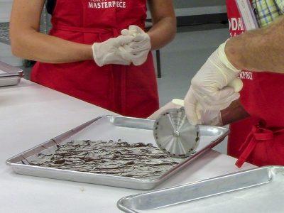 cutting chocolate bark