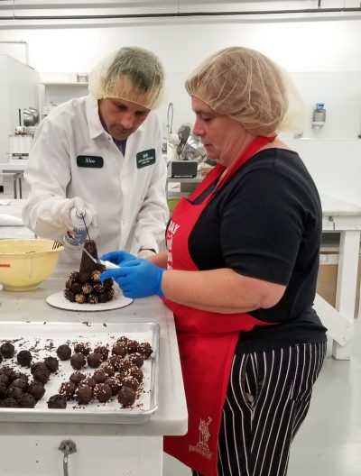 making chocolate truffle trees